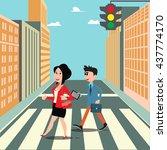 people on the crosswalk.... | Shutterstock .eps vector #437774170