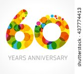 60 years old multicolored... | Shutterstock .eps vector #437774413
