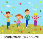 boys and girls running and... | Shutterstock .eps vector #437778298