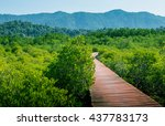 bridge bright red trimmed with... | Shutterstock . vector #437783173