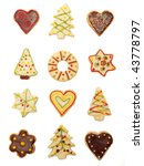 Collection of various handmade christmas cookies, covered and decorated with chocolate and colorful sugar - stock photo