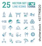 set vector line icons in flat... | Shutterstock .eps vector #437790820