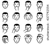 man face with hand emoticons... | Shutterstock .eps vector #437792554