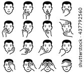 man face with hand emoticons... | Shutterstock .eps vector #437792560