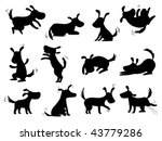 Stock vector dogs silhouettes poses 43779286
