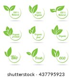 set of bright green labels with ... | Shutterstock .eps vector #437795923