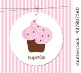a cupcake with star sprinkles... | Shutterstock .eps vector #437807560