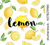fresh ripe lemons with leaves.... | Shutterstock . vector #437825980