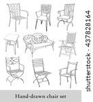 hand drawn chair set 2   Shutterstock .eps vector #437828164