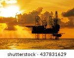 silhouette  offshore jack up...   Shutterstock . vector #437831629