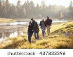 four friends having fun walking ... | Shutterstock . vector #437833396