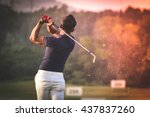 golfer hitting golf shot with... | Shutterstock . vector #437837260
