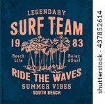 legendary surf team print for t ... | Shutterstock .eps vector #437852614