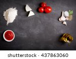 raw pizza ingredients on the... | Shutterstock . vector #437863060