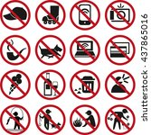 set of prohibited signs and...   Shutterstock . vector #437865016