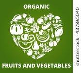 organic food concept. heart... | Shutterstock . vector #437865040
