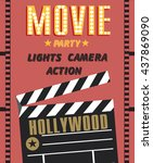 movie party. hollywood party... | Shutterstock .eps vector #437869090