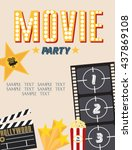 movie party. hollywood party... | Shutterstock .eps vector #437869108