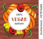 vegan food menu background....   Shutterstock .eps vector #437876686