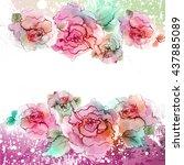 watercolor flowers illustration.... | Shutterstock . vector #437885089