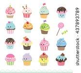 Kawaii Cupcakes Set. Cute...