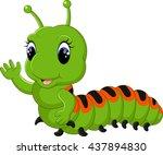 funny caterpillar runs on a...   Shutterstock . vector #437894830