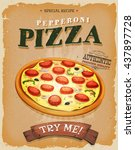 grunge and vintage pepperoni... | Shutterstock .eps vector #437897728