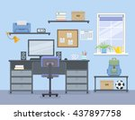 workspace for freelancer in... | Shutterstock .eps vector #437897758