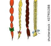 cartoon hair braids thin line...