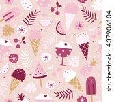 vector seamless summer pattern  ...   Shutterstock .eps vector #437906104