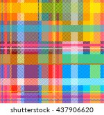 Creative Plaid Seamless Pattern. Checkered Cotton Fabric. Classical Traditional Indian Madras Print. Colorful Checkers, Stripes. Rainbow Colors. Retro Textile Design Collection. Multicolored chequers.