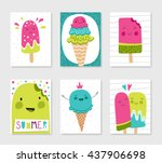 set of cute creative card...
