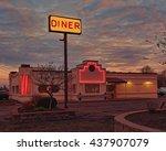 diner depiction at sunrise   Shutterstock . vector #437907079