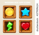 wooden box app icons in vector...