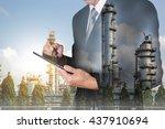 double exposure of businessman... | Shutterstock . vector #437910694