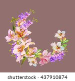watercolor flowers orchid.... | Shutterstock . vector #437910874
