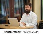 businessman with a beard... | Shutterstock . vector #437919034
