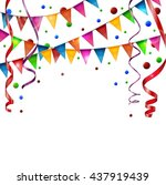 birthday flags with ribbon | Shutterstock . vector #437919439
