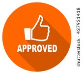 approved vector icon  orange... | Shutterstock .eps vector #437931418