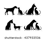 dog and cat silhouettes of... | Shutterstock .eps vector #437933536