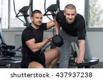 personal trainer showing young...   Shutterstock . vector #437937238