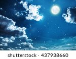 night sky with stars and full... | Shutterstock . vector #437938660