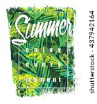 Stock vector tropical beach summer print with slogan for t shirt graphic and other uses vector illustration 437942164