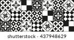 black and white cement tile... | Shutterstock .eps vector #437948629