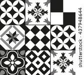 black and white cement tile...   Shutterstock .eps vector #437948644