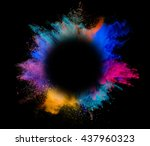 explosion of colored powder... | Shutterstock . vector #437960323