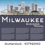 milwaukee skyline with gray... | Shutterstock .eps vector #437960443