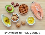 selection food sources of omega ... | Shutterstock . vector #437960878