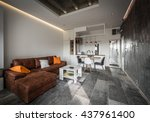 beautiful family room in... | Shutterstock . vector #437961400