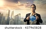 superhero protecting the city | Shutterstock . vector #437965828